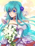 blue_eyes bouquet dress eirika fire_emblem fire_emblem:_kakusei flower saikachi wedding_dress