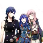 2girls :d age_difference arm_grab armor belt blue_eyes blue_hair blush cape chrom_(fire_emblem) cloak closed_eyes eyes_closed family father_and_daughter fingerless_gloves fire_emblem fire_emblem:_kakusei gloves krom long_hair lucina machinosuke mother_and_daughter multiple_girls my_unit open_mouth pink_eyes pink_hair skirt smile tiara