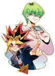 2boys card green_hair grin kaiba_seto li_mone millennium_puzzle multicolored_hair multiple_boys pointing smile spiky_hair teeth yami_yuugi yuu-gi-ou yuu-gi-ou_duel_monsters