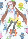 animal ayamoto blue_eyes brown_hair bug character_request creature dewott double_bun flaaffy long_hair mei_(pokemon) moth pantyhose pokemon pokemon_(game) pokemon_bw2 raglan_sleeves riolu samurott sheep shorts skirt sunflora swadloon twintails visor_cap volcarona