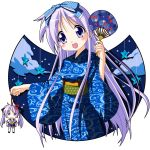 doll fan hiiragi_kagami hiiragi_tsukasa japanese_clothes kimono long_hair lucky_star purple_eyes purple_hair rindou_(awoshakushi) violet_eyes yukata