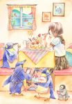 apron bangs bib bird brown_hair cafe cake clipboard cup eating fish food fork glass grey_eyes heart iinuma_chika notepad original penguin profile saucer school_uniform serafuku shaved_ice short_hair short_sleeves sitting skirt sparkle surreal table teacup traditional_media watercolor_(medium)
