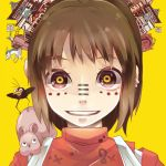 bird brown_eyes brown_hair child crazy_eyes crow dragon eastern_dragon hakama haku japanese_clothes matryoshka_(vocaloid) multicolored_eyes musou_yuchi ogino_chihiro parody pig sen_to_chihiro_no_kamikakushi solo studio_ghibli vocaloid yellow_eyes