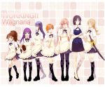 6+girls daisy_(working!!) fengshen9489 full_body inami_mahiru matsumoto_maya multiple_girls odd_one_out pantyhose shirafuji_kyouko stuffed_animal stuffed_toy sword takanashi_kotori takanashi_souta taneshima_popura teddy_bear thighhighs todoroki_yachiyo trap waitress weapon working!! yamada_aoi