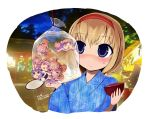 alice_margatroid animalization bag bagged_fish blonde_hair blue_eyes bowl festival fish goldfish_scooping hairband japanese_clothes kimono minigirl nagae_iku odd_one_out patchouli_knowledge plastic_bag poi touhou yassy you_gonna_get_raped