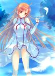 asuna_(sao) blush dress feathers long_hair lying mitsu_king on_back orange_eyes orange_hair partially_submerged smile solo sword_art_online water yuuki_asuna