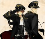 axis_powers_hetalia blonde_hair brown_hair cuffs from_behind germany_(hetalia) gloves hand_cuffs handcuffs hat jewelry looking_back military military_uniform multiple_boys necklace northern_italy_(hetalia) open_clothes peaked_cap riding_crop salute short_hair silver_hair smile suspenders trench_coat uniform wink