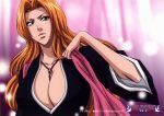 blue_eyes breasts cleavage highres huge_breasts japanese_clothes matsumoto_rangiku mole official_art orange_hair solo