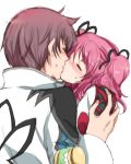 1girl asbel_lhant blush brown_hair cheria_barnes closed_eyes couple kiss kurimomo pink_hair tales_of_(series) tales_of_graces two_side_up