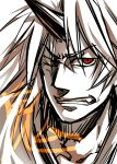 angry clenched_teeth face horns hoshiguma_yuugi long_hair monochrome oni red_eyes rex_k touhou