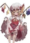 1girl :q ascot bangs blonde_hair blush clothes_lift crystal dd9 eyebrows_visible_through_hair flandre_scarlet frilled_shirt_collar frilled_skirt frills hat hat_ribbon highres looking_at_viewer mob_cap petticoat puffy_short_sleeves puffy_sleeves red_eyes red_skirt red_vest ribbon short_hair short_sleeves side_ponytail skirt skirt_lift solo standing tongue tongue_out touhou vest wings wrist_cuffs yellow_neckwear