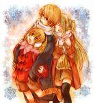 earmuffs higurashi_no_naku_koro_ni houjou_satoko houjou_satoshi midori-neko scarf sonozaki_shion thighhighs