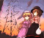 ashiyama ashiyama_yoshinori maribel_han maribel_hearn multiple_girls power_lines scarf shared_scarf touhou usami_renko