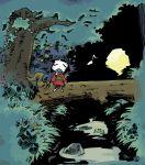 closed_eyes frog heiya_masanori hirano_masanori japanese_clothes log moon musical_note river tree