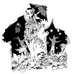 black_hair crow flower forest fox geta hair_flower hair_ornament heiya_masanori hirano_masanori japanese_clothes monochrome nature oriental_umbrella smile stump tanuki tree tree_stump umbrella
