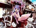 horns japanese_clothes kimono long_hair moonyan original parasol solo umbrella