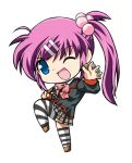 chibi kannazuki_yukito little_busters! long_hair marble nunchaku purple_hair saigusa_haruka school_uniform side_ponytail solo striped striped_legwear striped_thighhighs thigh-highs thighhighs wink