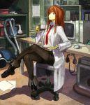 bad_id brown_hair computer crossed_legs cup doctor eating highres labcoat makise_kurisu mug necktie pantyhose red_hair ri-man ryman sitting steins;gate x68000