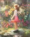 book brown_eyes brown_hair chibi_(shimon) dress flower grass hair_flower hair_ornament holding holding_book original solo standing