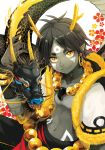antlers beads black_hair dragon dragon_boy earrings eastern_dragon facial_mark fur_trim grey_skin hitodama hoop_earrings jewelry magatama midriff original pointy_ears prayer_beads shokill short_eyebrows smile vest yellow_eyes
