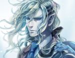 aotan bad_id blue blue_eyes bow grey_hair hair_bow hair_ornament hairclip long_hair male necktie pointy_ears ponytail silver_hair solo tiger_&_bunny yuri_petrov