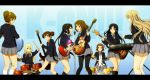 akiyama_mio black_hair black_legwear blonde_hair brown_hair character_request drum drum_set drumsticks guitar hairband hirasawa_ui hirasawa_yui holding instrument k-on! kotobuki_tsumugi letterboxed long_hair microphone multiple_girls nakano_azusa pantyhose saitou_sumire school_uniform shian_(my_lonly_life.) short_hair sitting skirt suzuki_jun tainaka_ritsu title_drop twintails