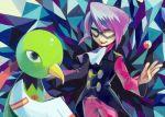 domino_mask elite_four formal itsuki_(pokemon) male mask poke_ball pokemon pokemon_(game) pokemon_hgss purple_hair smile tetsuko_(pixiv) xatu