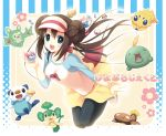 :d bag brown_hair double_bun food fruit green_eyes gulpin hatori_piyoko joltik long_hair mei_(pokemon) open_mouth oshawott pansage pantyhose peach poke_ball pokemon pokemon_(game) pokemon_bw2 raglan_sleeves reuniclus skirt smile stunfisk twintails visor_cap