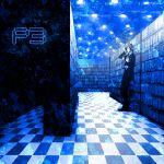 arisato_minato blue blue_hair bookshelf checkered checkered_floor headphones koredemoka library male persona persona_3 school_uniform serori_(koredemoka) solo