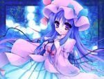 bow danmaku gradient_hair hair_bow hat hat_bow kujou_mikuru long_hair long_sleeves multicolored_hair patchouli_knowledge purple_eyes purple_hair solo touhou very_long_hair violet_eyes wide_sleeves
