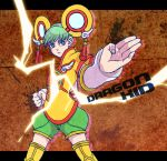 chinese_clothes detached_sleeves dragon_kid electricity fighting_stance green_eyes green_hair hat huang_baoling short_hair shorts solo superhero thigh-highs tiger_&_bunny yumegiwa3226