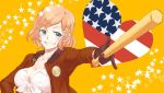 1girl america_(hetalia) axis_powers_hetalia baseball_bat bikini_top blonde_hair blue_eyes breasts cleavage genderswap grin hair_ornament hairclip heart jacket lath smile solo star