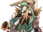 cage dioptrie dress green_hair hands hatsune_miku headphones long_hair microphone piano_print solo steampunk twintails vocaloid wings