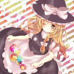 ;) blonde_hair blush bow braid dress egg hat hat_bow kirisame_marisa long_hair mike_(mikenekotei) single_braid skirt_basket solo striped striped_background touhou wink witch_hat yellow_eyes