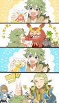 2boys age_difference comic darmanitan father_and_son geechisu_(pokemon) green_hair happy morinaga777 n_(pokemon) petilil pokemon pokemon_(game) pokemon_bw punching silent_comic smile sweatdrop team_plasma team_plasma_grunt translated whimsicott young zorua