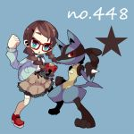 book braid clenched_hand dress glasses gloves hair_ribbon holding long_hair lucario ngayope open_mouth pokemon polka_dot red-framed_glasses red_eyes ribbon star sweater thigh-highs thighhighs twin_braids white_legwear