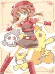 1girl amamiya_kabosu belt blush brown_hair combusken dress duskull haruka_(pokemon) numel pokemon pokemon_(creature) pokemon_(game) pokemon_rse team_magma team_magma_grunt tegaki