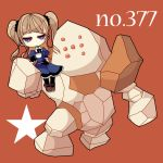black_gloves black_legwear blonde_hair bow brown_background carrying cup dress flat_gaze frilled_dress frills frown gloves golem holding light_brown_hair long_hair ngayope pantyhose plate pokemon puffy_sleeves purple_eyes regirock ribbon riding saucer shoes short_sleeves shoulder_carry simple_background sitting skirt star teacup twintails violet_eyes