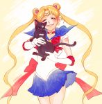 artist_name bishoujo_senshi_sailor_moon black_cat bow cat choker closed_eyes elbow_gloves eyes_closed gloves happy holding long_hair luna_(sailor_moon) ribbon sailor_collar sailor_moon shabomu skirt smile tiara tsukino_usagi twintails