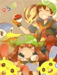 1boy 1girl bandanna black_hair brown_hair closed_eyes fingerless_gloves gloves hacohune haruka_(pokemon) hat linoone minun pelipper plusle pokemon pokemon_(creature) pokemon_(game) pokemon_rse smile swellow tegaki title_drop yuuki_(pokemon)