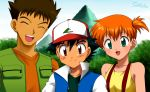 2boys black_hair brown_eyes brown_hair child closed_eyes eyes_closed green_eyes hat jacket kasumi_(pokemon) laura_jimenez mountain multiple_boys orange_hair pokemon pokemon_(anime) satoshi_(pokemon) satoshi_(pokemon)_(classic) short_hair side_ponytail takeshi_(pokemon) tree vest