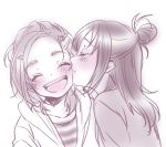 2girls :d blush bust cheek_kiss closed_eyes couple futari_wa_precure_splash_star half_updo happy hyuuga_saki kiss long_hair lowres mishou_mai monochrome multiple_girls nakagawa_besu open_mouth precure short_hair simple_background smile white_background yuri