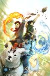 1girl 2boys armlet avatar:_the_last_airbender black_hair blue_eyes bolin_(avatar) brothers brown_hair dark_skin fire green_eyes hair_tubes highres korra legend_of_korra long_hair mako_(avatar) multiple_boys naga_(avatar) pabu pabu_(avatar) ponytail red_panda rock topknot vambraces water wenqing_yan yellow_eyes