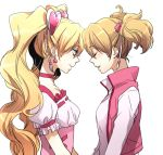 2girls blonde_hair closed_eyes cure_peach dual_persona earrings forehead-to-forehead fresh_precure! heart jewelry light_smile momozono_love multiple_girls nakagawa_besu precure simple_background talking twintails white_background
