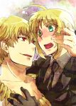 1girl black_gloves blonde_hair blush couple fate/zero fate_(series) formal gilgamesh gloves green_eyes jewelry long_hair necklace necktie pant_suit ponytail red_eyes saber suit yu@genkoochu(5tsukino)