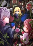 2girls apple arie9 blonde_hair blue_eyes blue_rose book bouquet brown_hair bunny candy cat doll dress eve_(ib) eyeball flower food fruit garry_(ib) gary_(ib) grin hair_over_one_eye highres ib ib_(ib) key lady_in_red_(ib) long_hair looking_back mannequin mary_(ib) multiple_girls painting painting_(object) palette_knife petals purple_hair puzzle_piece quill rabbit red_eyes red_rose rose smile umbrella yellow_eyes yellow_rose