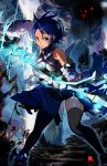 aqua_(kingdom_hearts) bare_shoulders blue_eyes blue_hair gloves heartless jc keyblade kingdom_hearts kingdom_hearts_birth_by_sleep large_breasts short_hair thigh-highs thighhighs
