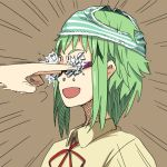 bespectacled couzone glasses green_hair gumi hands object_on_head open_mouth panties panties_on_head short_hair solo striped striped_panties underwear vocaloid