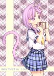 1girl amemiya_ruki animal_ears cat_ears cat_tail extra_ears heart highres looking_at_viewer original purple_hair school_uniform serafuku skirt solo tail valentine violet_eyes