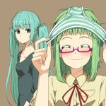 aqua_eyes aqua_hair bespectacled couzone empty_eyes glasses green_hair gumi hatsune_miku multiple_girls object_on_head panties panties_on_head short_hair smile striped striped_panties underwear vocaloid